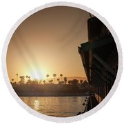 View Of Setting Sun Over Santa Barbara, Ca Round Beach Towel