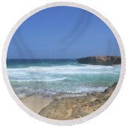 View Of Small Aruba Rock Formation On Boca Keto Round Beach Towel