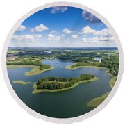 View Of Small Islands On The Lake In Masuria And Podlasie  Round Beach Towel