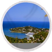View Of St. Lucia Round Beach Towel