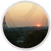 View Of Sunset From The Louvre Round Beach Towel