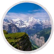 View Of The Swiss Alps Round Beach Towel