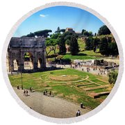 View Of The Arch Of Constantine From The Colosseum Round Beach Towel