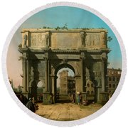 View Of The Arch Of Constantine With The Colosseum Round Beach Towel