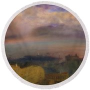 View Of The Bay Of Naples With Vesuvius Smoking In The Distance Round Beach Towel