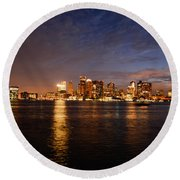 View Of The Boston Waterfront At Night Round Beach Towel