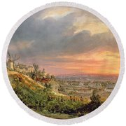 View Of The Butte Montmartre Round Beach Towel