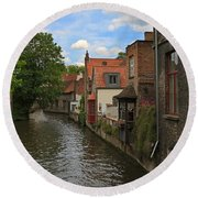 View Of The Canal From Maria Brug On Katelijnestraat In Bruges Round Beach Towel