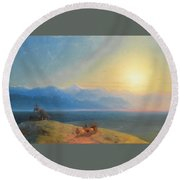 View Of The Caucasus With Mount Kazbek In The Distance Round Beach Towel