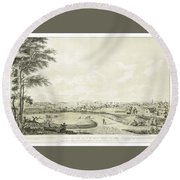 View Of The City Of New York Round Beach Towel