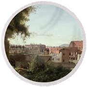 View Of The Colosseum From The Farnese Gardens Round Beach Towel by Jean Baptiste Camille Corot