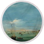 View Of The Giudecca Canal And The Zatter Round Beach Towel