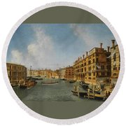 View Of The Grand Canal Venice With The Fondaco Dei Tedeschi Round Beach Towel