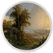 View Of The Harbor Of Puerto Cabello, Study Round Beach Towel