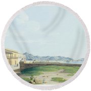 View Of The Harbour And City Of Palermo Round Beach Towel