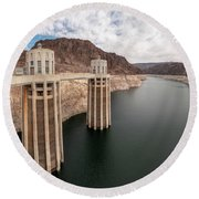 View Of The Hoover Dam Lake With Low Water Reserves Round Beach Towel