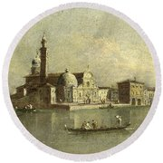 View Of The Isola Di San Michele In Venice Round Beach Towel