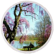 View Of The Lake In Spring Round Beach Towel