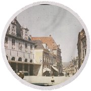 View Of The Market Horn  With The Statue Of Jan Pietersz Coen And The Waag Anonymous  1907   1930 Round Beach Towel
