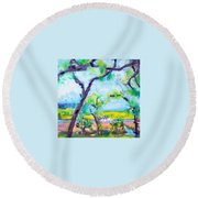 View Of The Marsh Round Beach Towel