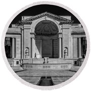 View  Of The Memorial Amphitheater At Arlington Cemetery  Round Beach Towel