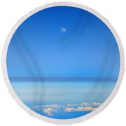 View Of The Moon From The Stratosphere Round Beach Towel