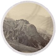 View Of The Mountains Of The Himalayas, Samuel Bourne, 1866 Round Beach Towel