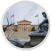 View Of The Museum Of Art In Philadelphia From The Parkway Round Beach Towel