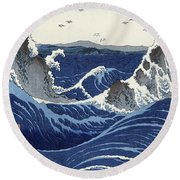 View Of The Naruto Whirlpools At Awa Round Beach Towel by Hiroshige