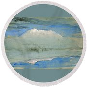 View Of The Old Man At Coniston As Seen From Brantwood House Round Beach Towel