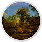 View Of The Pastures Of The Limousin 1835 Round Beach Towel