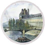 View Of The Pavillon De Flore Of The Louvre Round Beach Towel by Francois-Marius Granet