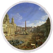 View Of The Piazza Navona Round Beach Towel