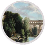 View Of The Pont Du Gard Round Beach Towel