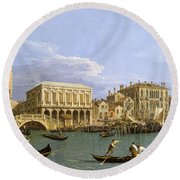 View Of The Riva Degli Schiavoni. Venice Round Beach Towel