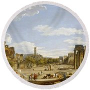 View Of The Roman Forum Round Beach Towel by Giovanni Paolo Panini