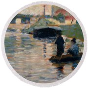 View Of The Seine Round Beach Towel by Georges-Pierre Seurat