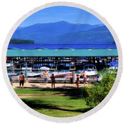View Of The Selkirk Mountains Round Beach Towel