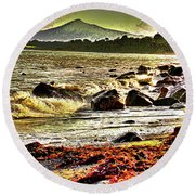 View Of The Sugarloaf Mountain From Killiney, 1b Round Beach Towel