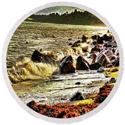 View Of The Sugarloaf Mountain From Killiney Round Beach Towel