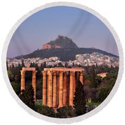View Of The Temple Of Olympian Zeus And Mount Lycabettus In The  Round Beach Towel