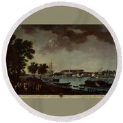 View Of The Town And Port Of Bayonne Round Beach Towel