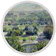 View Of The Tuileries Gardens Round Beach Towel by Claude Monet