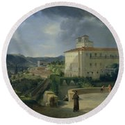 View Of The Villa Medici In Rome Round Beach Towel