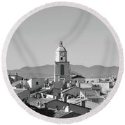 View Of The Village And The Clocher Of Saint-tropez Round Beach Towel