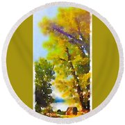 View Of The Willamette From The Trees Round Beach Towel