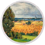 View Of Vadstena From The Surrounding Fields Round Beach Towel