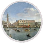 View Of Venice From The Island Of San Giorgio Round Beach Towel