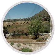 View Of Virginia City Nv From The Final Resting Place Round Beach Towel