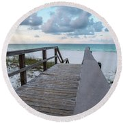 View Of White Sand And Blue Ocean From Wooden Boardwalk Round Beach Towel